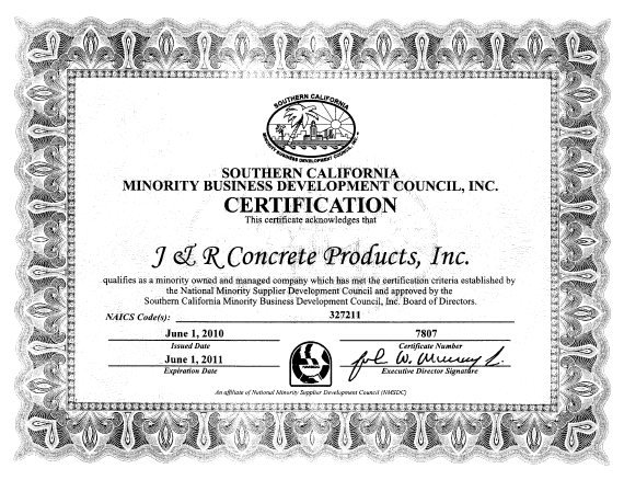 Minority Owned Business Certification | J&R Concrete Products Inc.