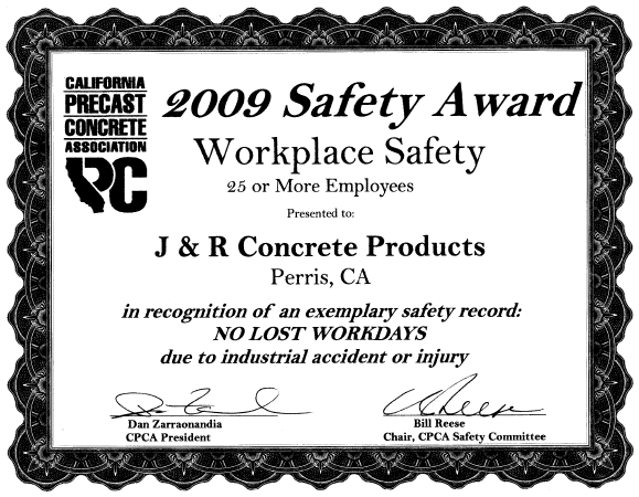 workplace safety award j r concrete products inc